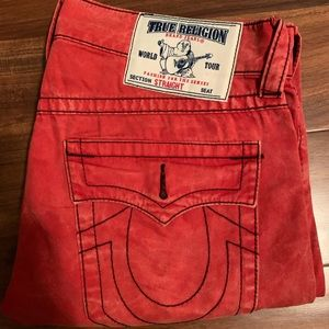 True Religion red washed jeans.